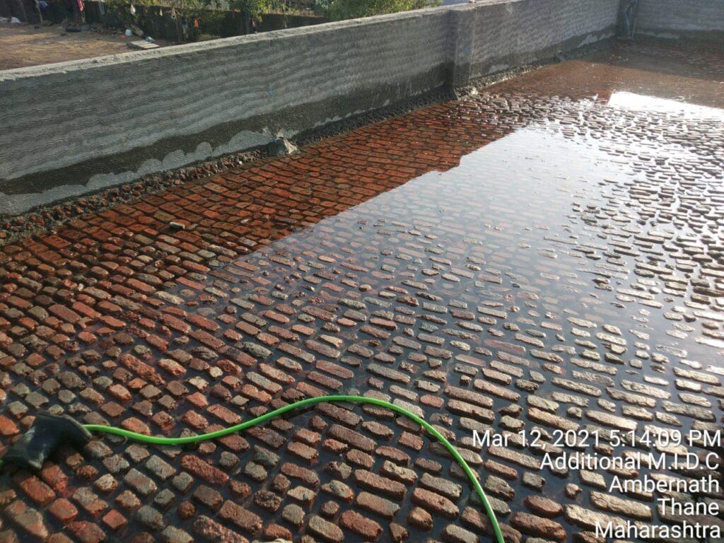 Brick Bat Coba Waterproofing With Stamped Finish
